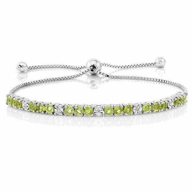 12.8 Cttw Tennis Bracelet 3.5 mm Round Peridot CZ Cubic Zirconia Faceted 8 Inch