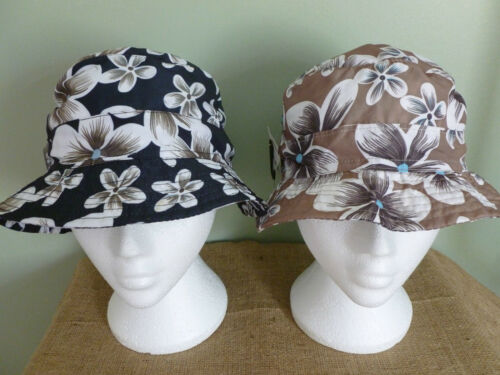 FESTIVAL BEANIE STYLE. 58CM LADIES FLORAL PACKABLE TRAVEL HAT ONE SIZE