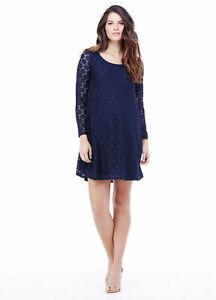 Ingrid & Isabel Maternity Navy Blue Stretch Polka Dot Lace Dress Small 4 6 New