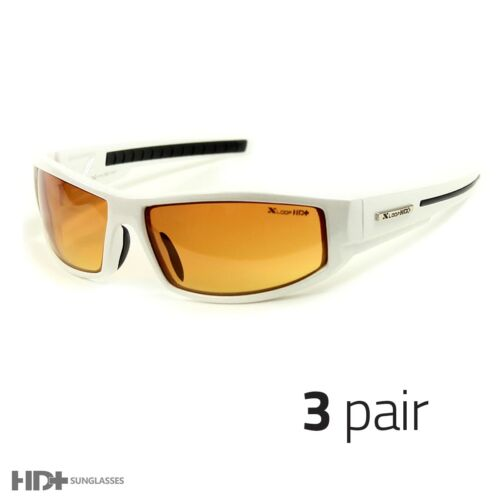 3 PAIR SPORT WRAP HD NIGHT DRIVING SUNGLASSES HIGH DEFINITION GLASSES WHITE b