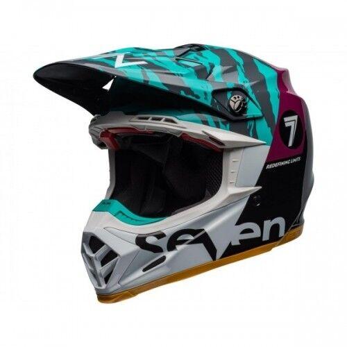 Bell Moto-9 Seven Flex Helmet 2019 Zone Gloss Black/Aqua Size Medium