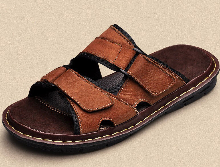 Size 5-12 New Leather Mens Casual Beach Sandals shoes Pull On Beach Summer hot
