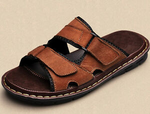 d45df8170cbc Size 5-12 PU Leather Men s Slippers Casual Beach Sandals Shoes Pull ...