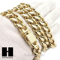 Mens14k Gold Finish Heavy Cuban Link Chain 15mm 18mm Bracelet 9 30 36 Set