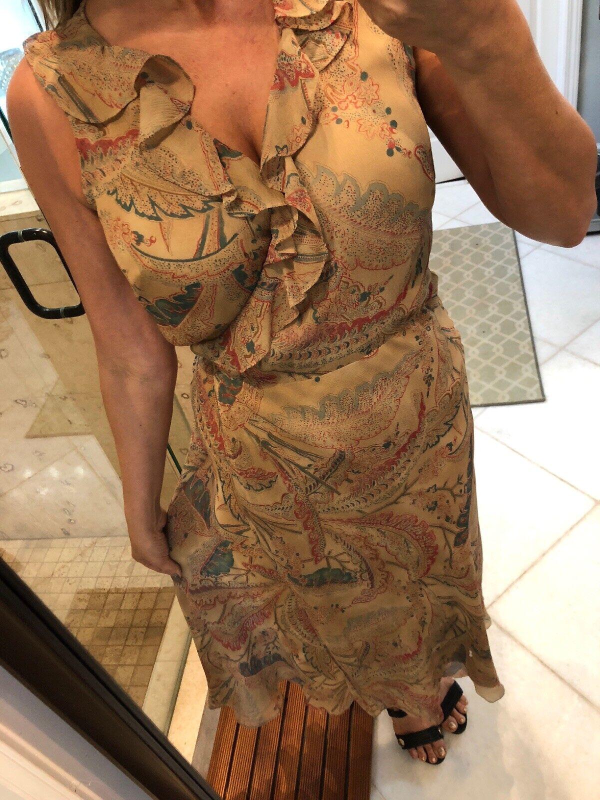 """New Ralph Lauren 100% Silk Wrap Maxi Dress Ruffled Tan Red Fall Gown 52"""" Long"""