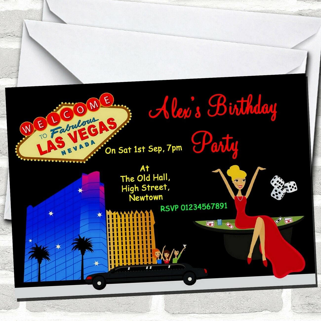 Casino Las Vegas Theme Birthday Party Invitations