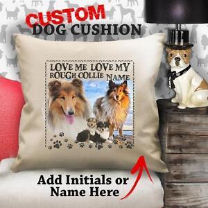 personalisiert-grob-Collie-Hund-Welpe-Vintage-Kissen-nach-Kundenwunsch-Leinen