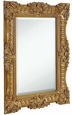 Large Ornate Gold Baroque Frame Mirror | Aged Luxury | Elegant Rectangle Wall |
