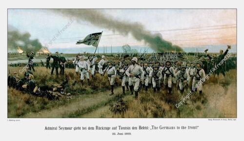 Germans To The Front. Röchling 30x53cm Boxeraufstand Großer Kunstdruck n C