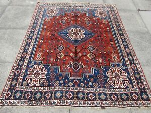 Antique-Worn-Traditional-Hand-Made-Oriental-Red-Blue-Wool-Rug-183x152cm