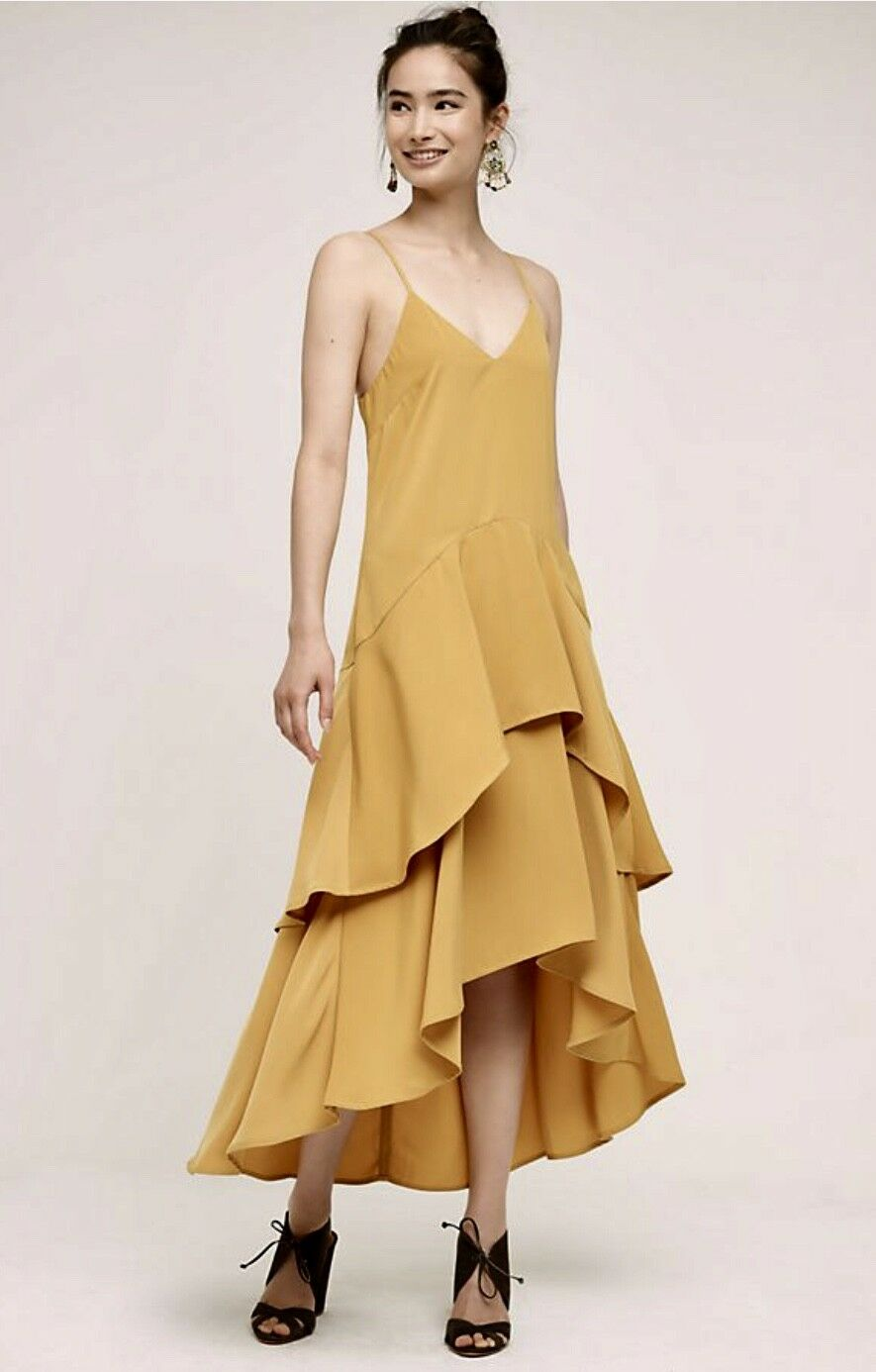 Anthropologie Maxi Dress  Gold Gelb Drapy 2 Tier Ruffle XS NEW