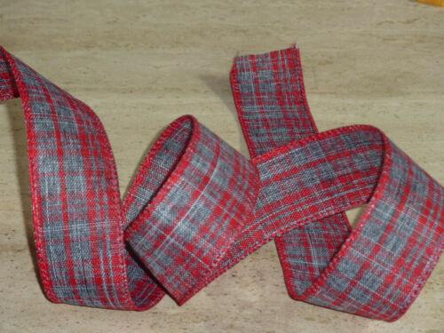 Rouge Tartan gris fil Edge cristalline ruban 1 m de Noël Artisanat Mercerie