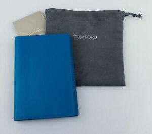 NWT-TOM-FORD-Dodger-Blue-Smooth-100-Leather-Bifold-Card-Holder-Wallet-390
