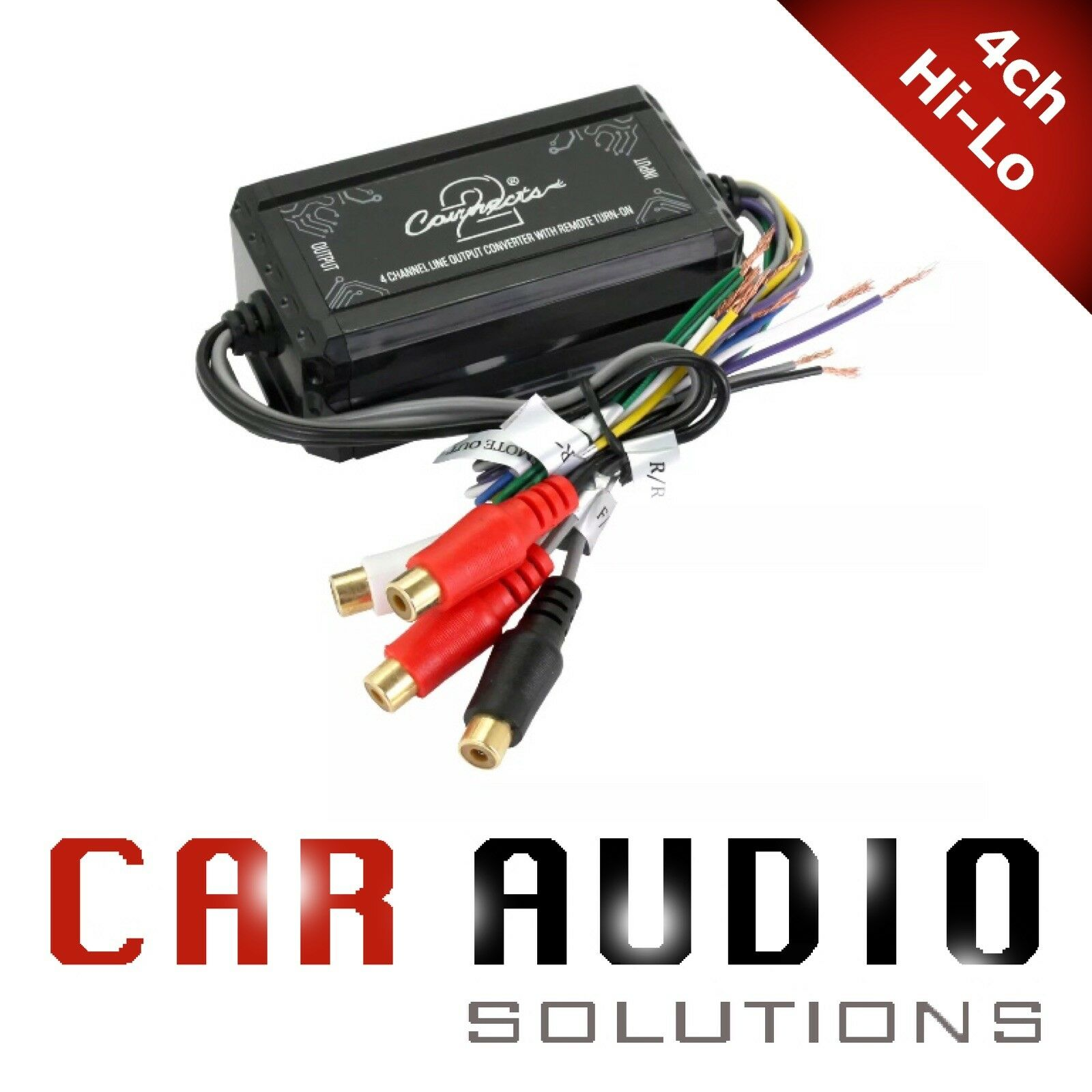 HI-LOW LINE LEVEL ADAPTER SPEAKER TO RCA CABLE ADD AMP TO YOUR FACTORY STEREO