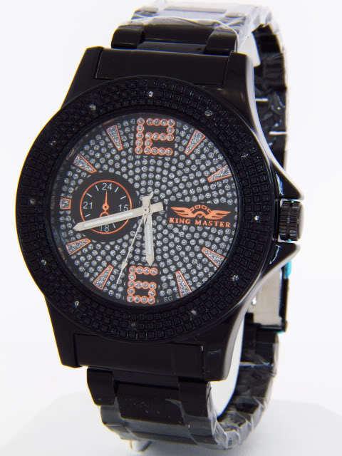 King Master Men's Black Ion Plated Steel 0.12ct Diamond Quartz Watch 105M