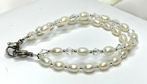 New-Double-Strand-White-Pearl-amp-Crystal-Medical-ID-Alert-Replacement-Bracelet