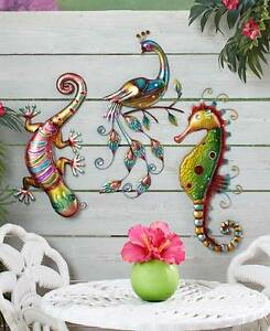 Image Is Loading Colored Southwest Lizard Gecko Wall  Sculpture Nautical Seahorse