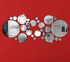 30pcs New Design Round Mirror Wall Sticker Luxury Frame Home Decoration Silver
