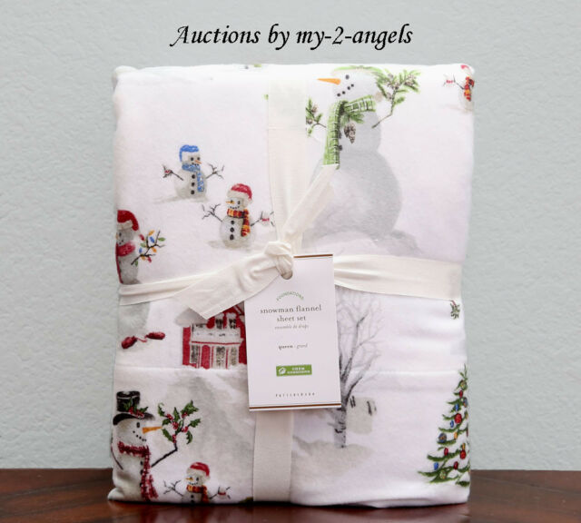 NEW Pottery Barn SNOWMAN Cotton Flannel Queen Sheet Set Christmas Winter Organic