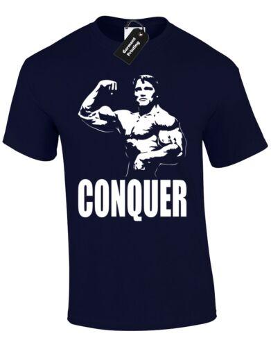 Conquérir arnie hommes t shirt haltérophilie crossfit shwarzenegger uno lift muscle