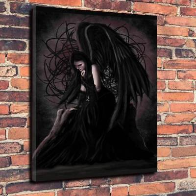 Gothic Dark Angel Printed Box Canvas Picture Multiple Sizes 30mm deep Halloween