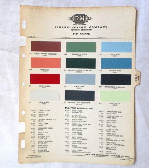 1955 Desoto R M Color Paint Chip Chart All Models Original Mopar Ebay