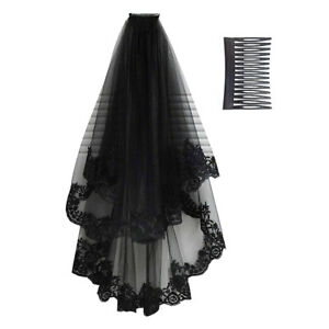 Halloween-Women-Black-Lace-Veil-Tulle-Bridal-Cosplay-Wedding-Decor-With-Comb-US