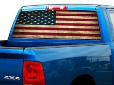 P473 Distressed Flag Rear Window Tint Graphic Decal Wrap Back Truck Tailgate