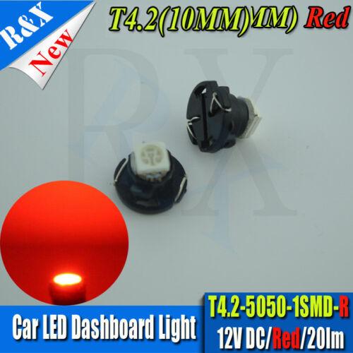 2X T4.2 5050-SMD Neo Wedge Red LED Cluster Instrument Dash Climate Lights 12V