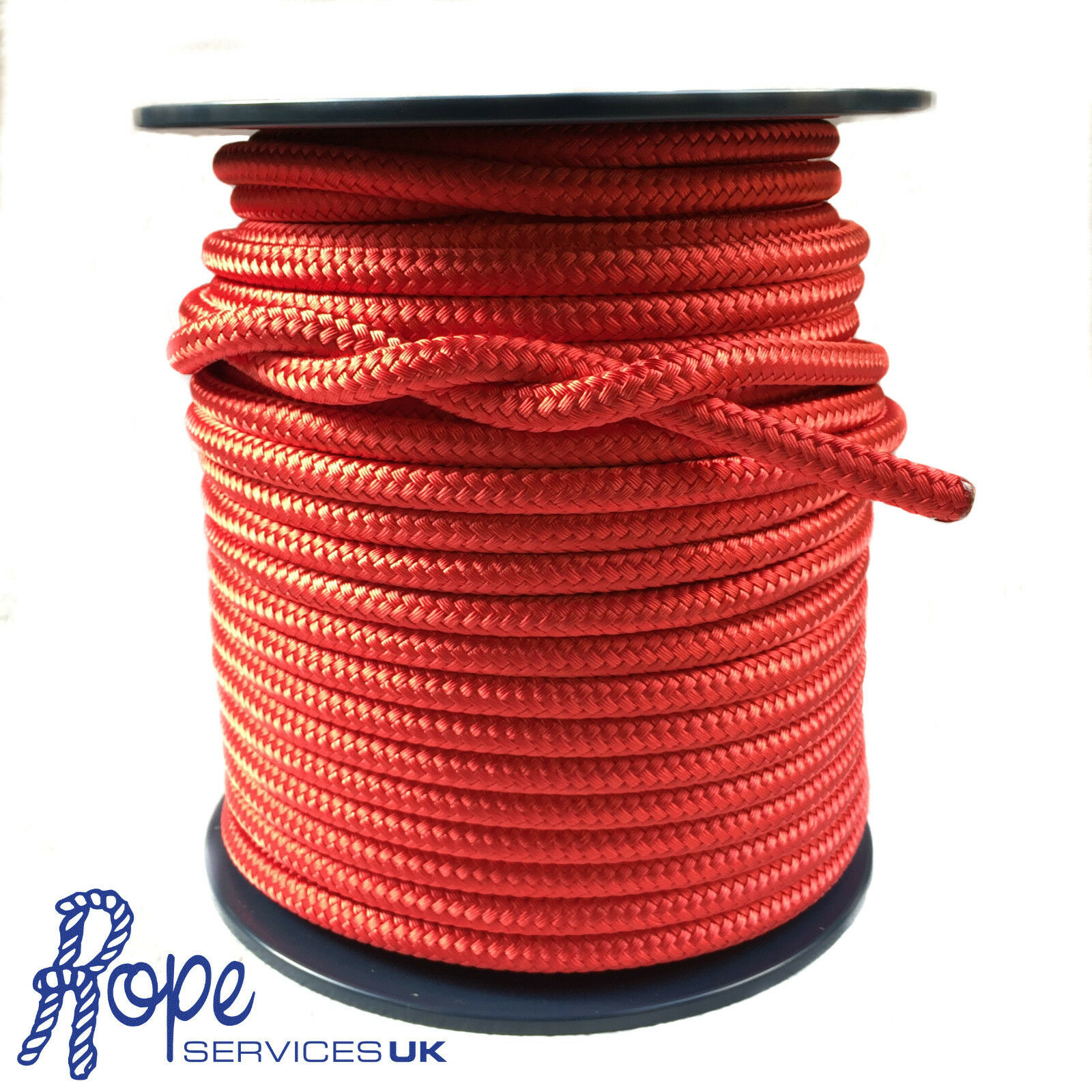 8mm Red Double Braid Polyester x 30 Metres, Braid on Braid Rope Marine Yachts