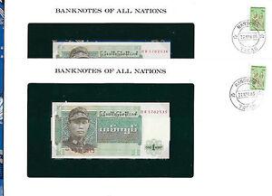 Banknotes-of-All-Nations-Burma-1972-1-Kyat-P56-UNC-Prefix-DR-2-Consecutive