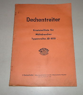 Industrial Dependable Parts Catalog/spare Parts List Dechentreiter Combine Harvester Jd 4110 Farming & Agriculture