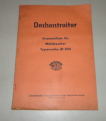 Industrial Motors Dependable Parts Catalog/spare Parts List Dechentreiter Combine Harvester Jd 4110