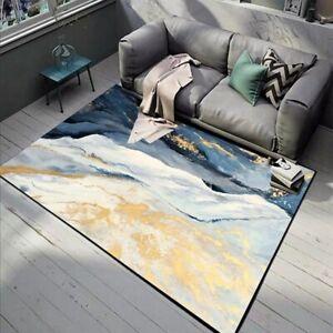 Abstract Blue Golden Marble Area Rugs Modern Bedside Decor Non-Slip Floor Mat