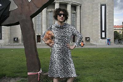 Bellissimo Top Lady Donna Vestito Abito Da Leo Leopard 80er Nero Bianco True Vintage 80s Women Dress-mostra Il Titolo Originale