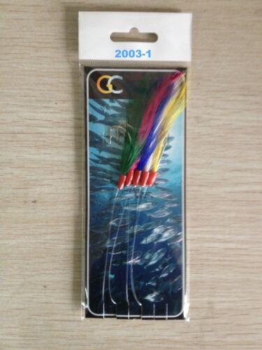 5 X 5HOOKS 2003-1 Mackerel Feather Coloured Feather Hokkai hockeye sea lure Sea