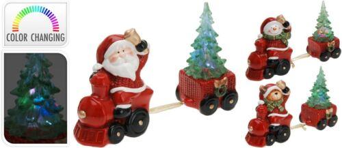 CERAMIC Santa Snowman /& Reindeer CHRISTAMS TRAIN Colour changing Tree Lights