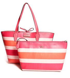 338329f799a1 GUESS Bobbi 3 in 1 Reversible Classic Tote Set Handbag Purse Stripe ...