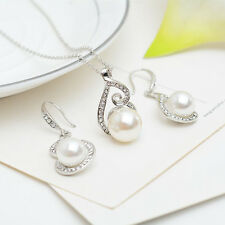 Bridal Wedding Jewelry Set Silver Pearl Rhinestone Necklace & Earrings Party TL