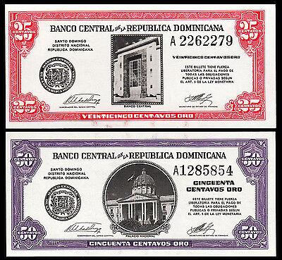 DOMINICAN REPUBLIC 25 CENTAVOS ORO 1961 UNC 2 PCS CONSECUTIVE PAIR P.87