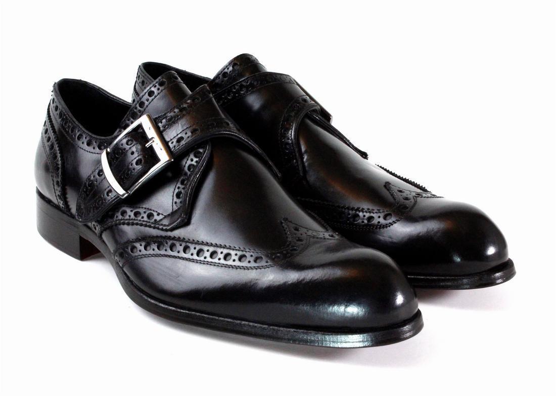 Ivan troy negro fabricado a mano monje cinturón de cuero italiano zapatos formales