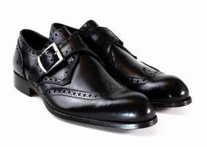 476c5d235a130 Italiano Mano Troy Negro Vestido A zapatos Tira Cuero Zapatos Ivan Monje  Hecho 8wfqSS