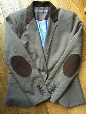 ZARA Basics Elbow Patch Houndstooth Hacking Blazer Jacket Size L
