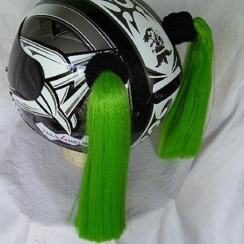 Green Ladies Helmet Pigtails w// Free Wristband