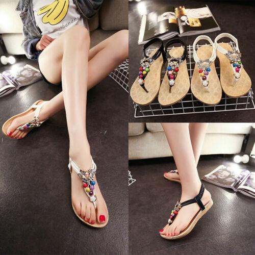 Summer Bohemia Women Flat Flip Flops Beaded Sandals Clip Toe Sandals Beach Shoes