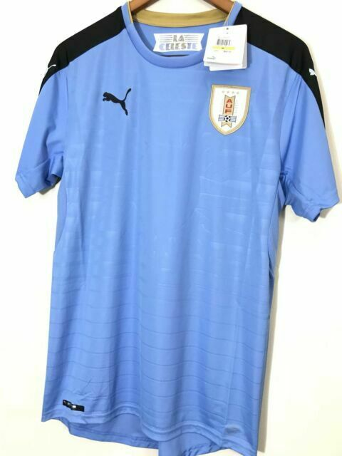 Official PUMA Uruguay Home Soccer Jersey Mens Kit Medium Blue ...