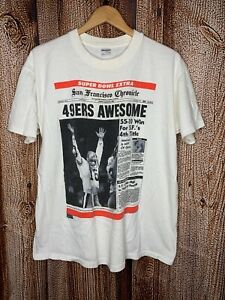Vintage-039-90-San-Francisco-Chronicle-49ers-Niners-Joe-Montana-Super-Bowl-Shirt-XL