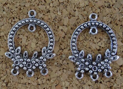 6 CONNECTEURS 3 RANGS en métal couleur argentée vieillie,perle,fimo,apprêt-co023