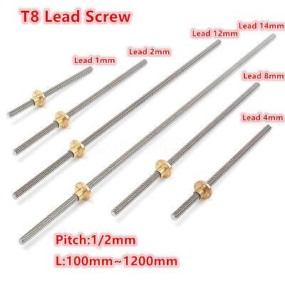 T8 lead screw Pitch1//2mm Lead 1//2//4//8//12//14mm Rod Stainless Lead Screw+Brass Nut