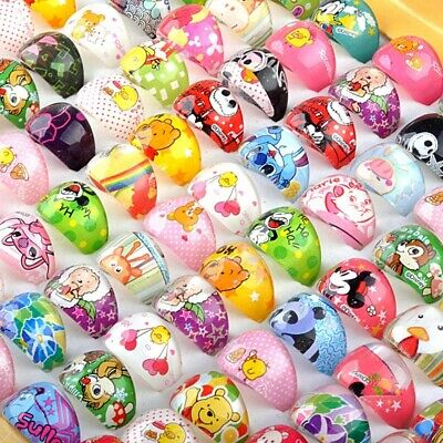 50Pcs Wholesale Mixed Lots Cute Cartoon Children//Kids Resin Lucite Rings Jewelry